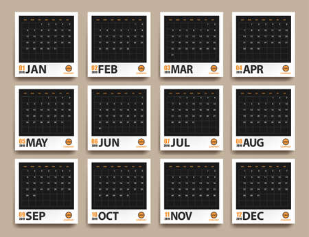 2019 calendar mockup in realistic photo frame with shadows isolated on beige background. Event planner. All size. Vector illustration