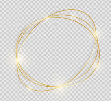 Marco vintage dorado brillante brillante con sombras aisladas sobre fondo transparente. Borde de línea de lujo dorado decorativo para invitación, tarjeta, venta, foto, etc. Ilustración vectorial