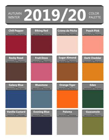 Palette de couleurs mode automne et hiver 2019 - 2020. Couleurs du monde de l'année. Guide de couleurs de mode de palette avec des noms. Tendance de couleur de mode de New York. Illustration vectorielle