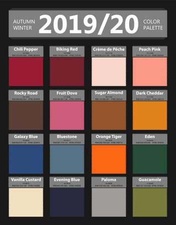 Autumn and Winter 2019 - 2020 fashion color palette. Worlds colors of the year. Palette fashion colors guide with names. Fashion color trend of New York. Vector illustration Vector Illustration