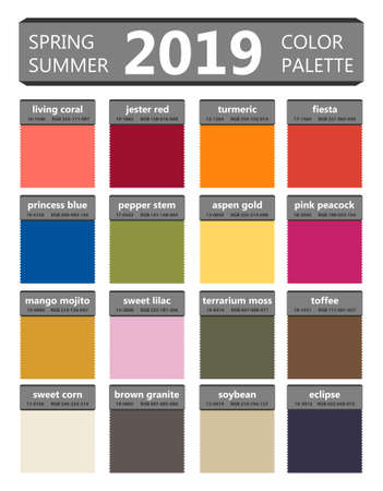 Spring and summer 2019 colors palette. Fashion trend guide. Palette fashion colors guide with named color swatches, RGB and TCX. Color of the year - living coral. Vector illustration