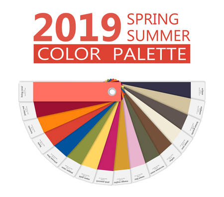 Round paper Spring and summer 2019 colors palette. Fashion trend guide. Palette fashion colors guide with named color swatches, RGB and TCX. Color of the year - living coral. Vector illustration Vettoriali