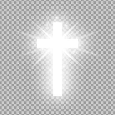 Glänzendes weißes Kreuz auf transparentem Hintergrund isoliert. Religiöses Symbol. Glühendes Heiliges Kreuz. Ostern und Weihnachtszeichen. Vektor-Illustration