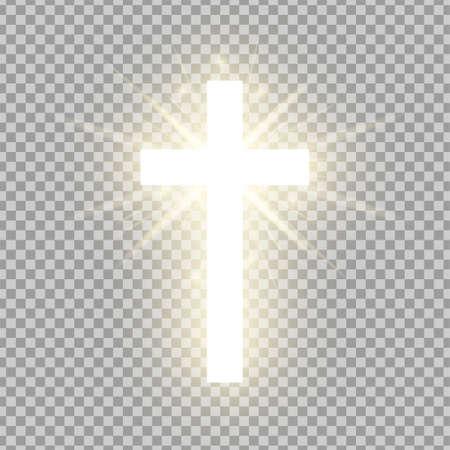 Cruz de oro brillante aislada sobre fondo transparente. Símbolo religioso. Santa cruz resplandeciente. Signo de Pascua y Navidad. Ilustración vectorial