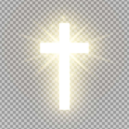 Błyszczący krzyż na przezroczystym tle. Symbol religijny. Świecący krzyż św. Znak wielkanocny i bożonarodzeniowy. Koncepcja nieba. Ilustracja wektorowa