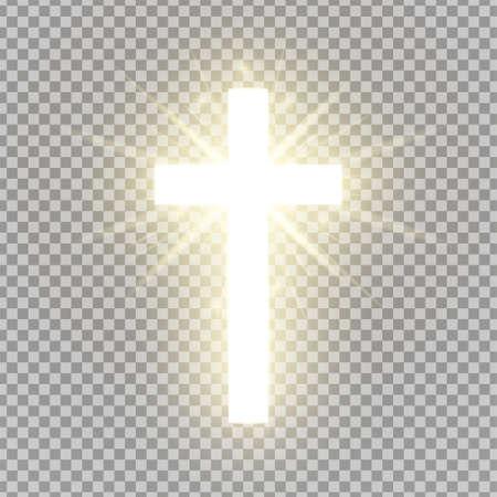 Cruz brillante aislada sobre fondo transparente. Símbolo religioso. Santa cruz resplandeciente. Signo de Pascua y Navidad. Concepto de cielo. Ilustración vectorial