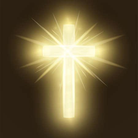 Cruz de oro brillante aislado sobre fondo retro marrón. Símbolo religioso. Santa cruz resplandeciente. Signo de Pascua y Navidad. Concepto de cielo. Ilustración vectorial