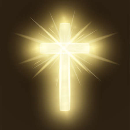 Shining gold cross isolated on brown retro background. Riligious symbol. Glowing Saint cross. Easter and Christmas sign. Heaven concept. Vector illustration Vettoriali