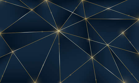 Blue premium background with luxury dark polygonal pattern and silver triangle lines. Low poly gradient shapes luxury golden platinum lines vector. Rich background for poster premium triangles design Vettoriali