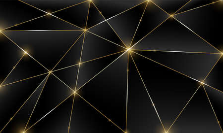 Black premium background with luxury dark polygonal pattern and silver triangle lines. Low poly gradient shapes luxury golden platinum lines vector. Rich background for poster premium triangles design Ilustração