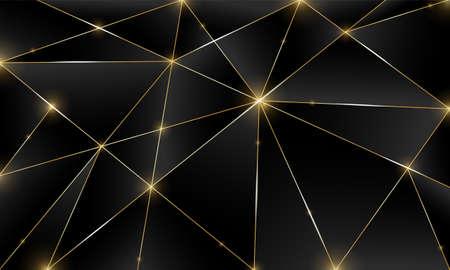 Fond noir premium avec motif polygonal sombre de luxe et lignes triangulaires argentées. Le dégradé de poly faible forme le vecteur de lignes de platine doré de luxe. Arrière-plan riche pour la conception de triangles premium d'affiches Vecteurs