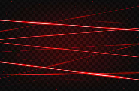 Red realistic laser beam background. Laser rays iolated on transparent background. Modern style abstract. Bright shiny lasers pattern. Vector illustration