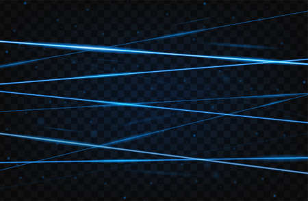 Blue realistic laser beam background. Laser rays iolated on transparent background. Modern style abstract. Bright shiny lasers pattern. Vector illustration Illustration