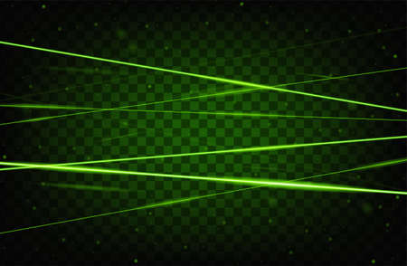 Green realistic laser beam background. Laser rays iolated on transparent background. Modern style abstract. Bright shiny lasers pattern. Vector illustration 矢量图像