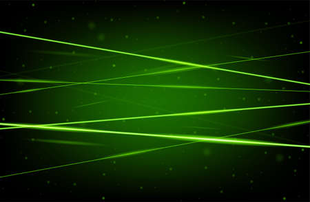 Green realistic laser beam background. Laser rays iolated on black background. Modern style abstract. Bright shiny lasers pattern. Vector illustration