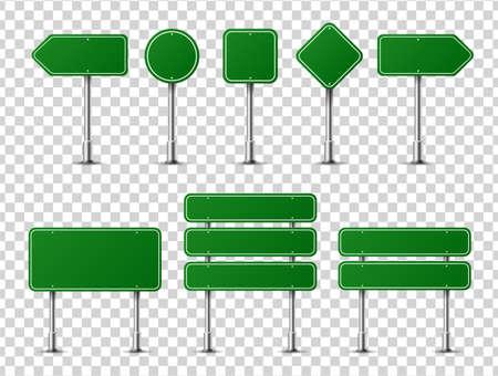 Segnali stradali realistici sul palo d'acciaio del metallo isolato. Mockup di pannelli stradali verdi diversi: autostrada di direzione, testo della scheda, posizione della città, frecce stradali, fermata, pericolo, segnaletica di avvertimento. Vettore