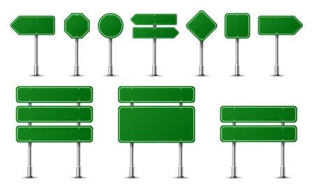 Señales de tráfico realistas en poste de acero metálico aislado. Maqueta de paneles de carreteras verdes diferentes: dirección de la carretera, texto del tablero, ubicación de la ciudad, flechas de la calle, parada, peligro, señalización de advertencia. Vector