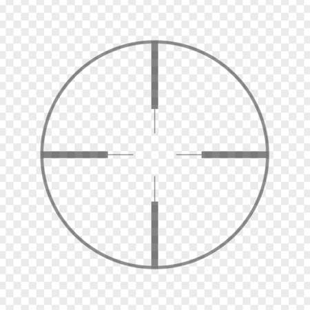 Sniper rifle aim isolated on transparent background. Crosshair target choose destination icon. Aim shoot focus cursor. Bullseye mark targeting. Game aiming sight dot pointer. Vector illustration
