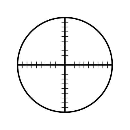 Cel karabin snajperski na białym tle. Cel krzyżyka wybierz ikonę miejsca docelowego. Wyceluj kursor ostrości. Celowanie w dziesiątkę. Gra mająca celownik punktowy wskaźnik. Ilustracja wektorowa