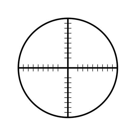 Sniper rifle aim isolated on white. Crosshair target choose destination icon. Aim shoot focus cursor. Bullseye mark targeting. Game aiming sight dot pointer. Vector illustration
