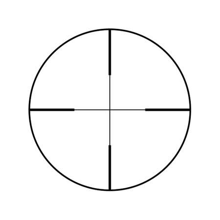 Sniper rifle aim isolated on white. Crosshair target choose destination icon. Aim shoot focus cursor. Bullseye mark targeting. Game aiming sight dot pointer. Vector illustration Ilustração
