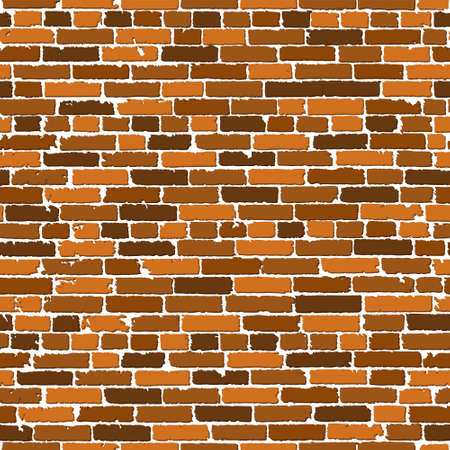Realistic seamless texture of brown old brick wall with shadows. Detailed seamless pattern. Modern backdrop abstract. Vector illustration