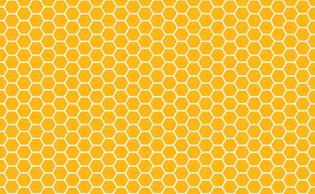 Gold honey hexagonal cells seamless texture. Mosaic or speaker fabric shape pattern. Golden honeyed comb grid texture and geometric hive hexagonal honeycombs. Vector illustration