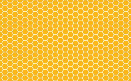 Textura transparente de células hexagonales de miel de oro. Patrón de forma de tela de mosaico o altavoz. Textura de rejilla de peine meloso dorado y panales hexagonales de colmena geométrica. Ilustración vectorial