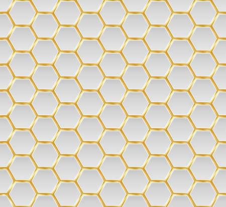 Células hexagonales de oro y miel blanca textura fluida. Patrón de forma de tela de mosaico o altavoz. Concepto de tecnología. Textura de rejilla de panal meloso y panales hexagonales de colmena geométrica. Vector