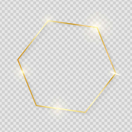 Gold shiny glowing vintage hexagon frame with shadows isolated on transparent background. Golden luxury realistic border. Wedding, mothers or Valentines day concept. Xmas and New Year abstract. Vector Ilustrace