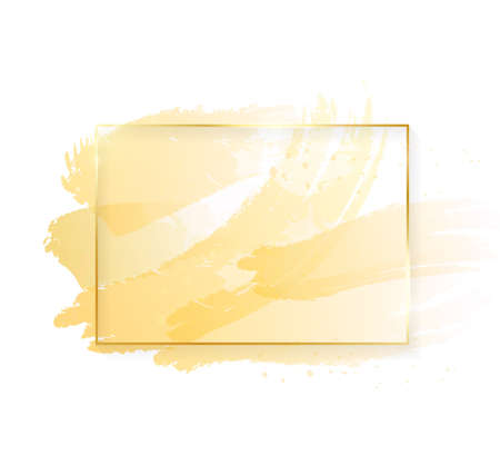 Gold shiny glowing rectangle frame with golden brush strokes isolated on white background. Golden luxury line border for invitation, card, sale, fashion, wedding, photo etc. Vector illustration