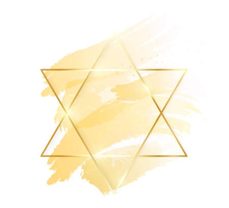 Gold shiny glowing star frame with golden brush strokes isolated on white background. Golden luxury line border for invitation, card, sale, fashion, wedding, photo etc. Vector illustration  イラスト・ベクター素材