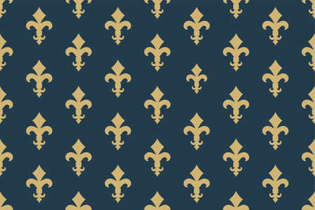 Vintage luxury Fleur-de-lis seamless royal background. France historic  ornamental pattern with heraldic symbol fleur-de-lis. Blue and gold style immaculate virgin symbolics. Vector illustration