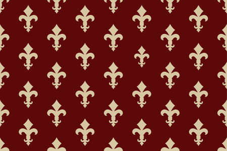 Vintage luxury Fleur-de-lis seamless royal background. France historic  ornamental pattern with heraldic symbol Fleur de Lis. Red and gold style immaculate virgin symbolics. Vector illustration Illustration