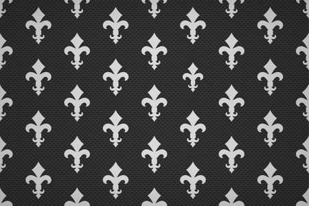 Vintage luxury Fleur-de-lis seamless royal background. France historic  ornamental pattern with heraldic symbol fleur-de-lis. Black and white style immaculate virgin symbolics. Vector illustration Illusztráció