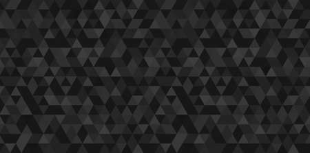 Dark black geometrical mosaic abstract seamless backround. Black triangular low poly style pattern. Vector illustration