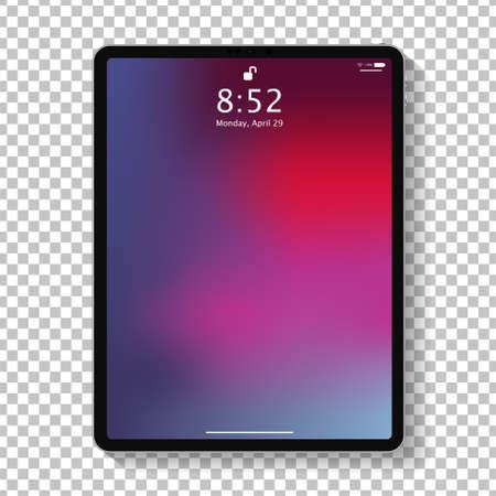 Schermata di blocco del computer tablet realistico con carta da parati geometrica colorata astratta. Grande e piccolo design moderno tablet PC isolato su sfondo trasparente. illustrazione vettoriale Vettoriali