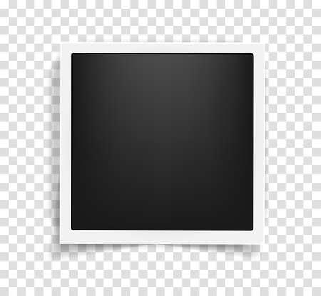 Plantilla de marco cuadrado realista de estilo vintage antiguo con sombras aisladas sobre fondo transparente. Concepto de recuerdos en estilo moderno. Ilustración vectorial Ilustración de vector