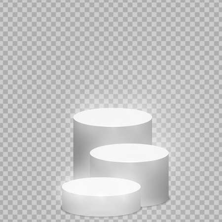 Round pedestal sanctified with light. Empty white podium illuminated mockup isolated on transparent background. Champion, first place, award, win, winner, award stair concept design. Vector