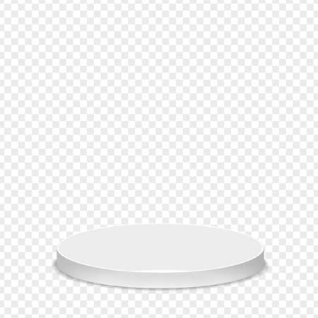 Realistic round white pedestal sanctified. Empty white podium mockup isolated on transparent background. Champion, first place, award, win, winner, award stair concept design. Vector