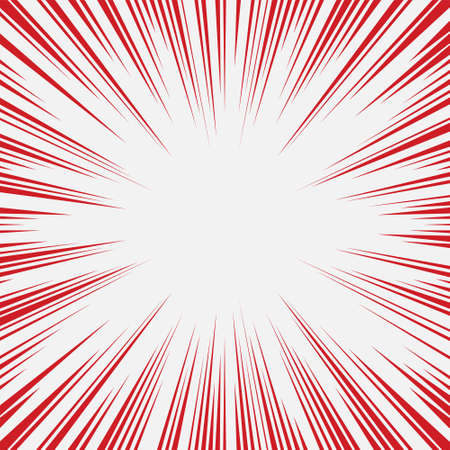 Red and white radial lines comics style backround. Manga action, speed abstract. Universe hyperspace teleportation background. Vector illustration Illustration