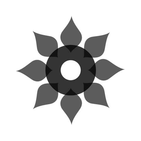 Light black abstract geometric flower template. Business abstract icon isolated on white.