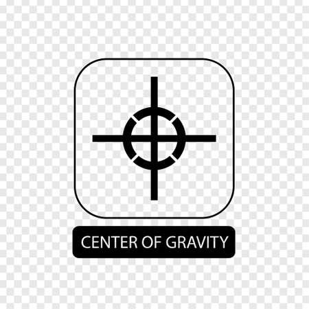 Signo de centro de gravedad. Símbolo de embalaje plano. Icono de caja de correo aislado sobre fondo transparente. Icono de correo. Ilustración vectorial Ilustración de vector