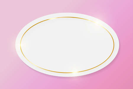 Gold shiny glowing vintage frame on white plate isolated on pink background. Golden luxury realistic border. Wedding, mothers or Valentines day concept. Xmas and New Year paper abstract. Vector