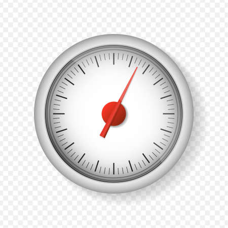 Realistic white speedometer isolated on transparent background. 3d timer watches. Sport car odometer with motor miles measuring scale. Deadline concept. Engine power concept template. Vector Stock Illustratie
