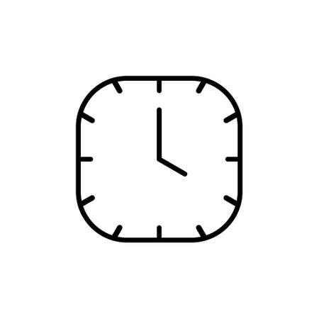 Clock line icon isolated on white background. Black and white simple watches. Time concept. Vector illustration