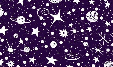 Hand drown scratch style night sky background. Space, stars and planets. Space violet and white abstract. Vector Illustration Ilustracja