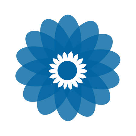 Light blue abstract geometric flower design template. Business abstract icon isolated on white.  イラスト・ベクター素材
