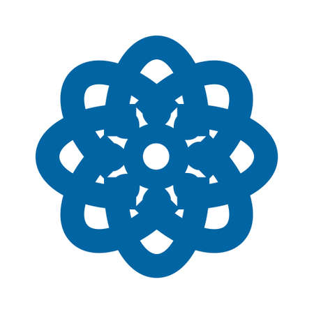 Light blue abstract geometric flower icon template. Business abstract icon isolated on white.