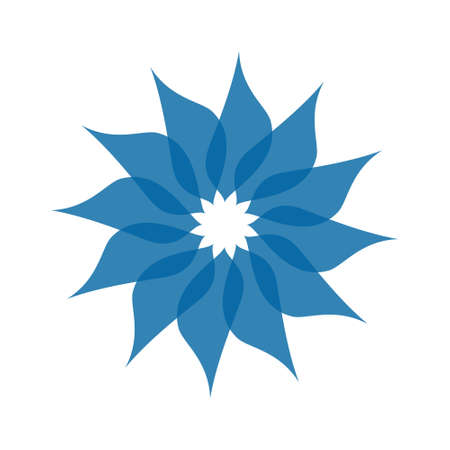 Light blue abstract geometric flower template. Business abstract icon isolated on white.
